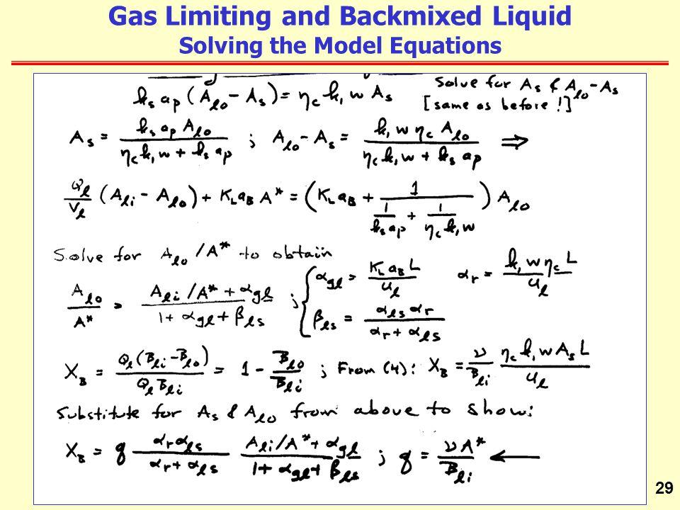 29 Gas Limiting and Backmixed Liquid Solving the Model Equations