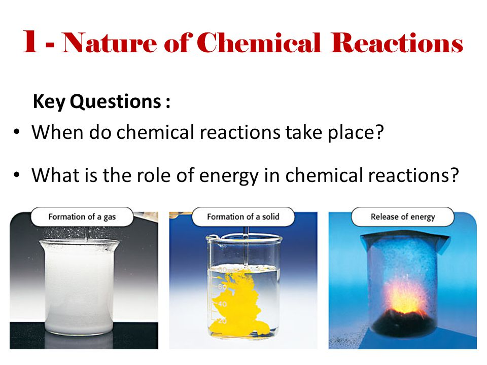 1 - Nature of Chemical Reactions Key Questions : When do chemical reactions take place? What is the role of energy in chemical reactions?
