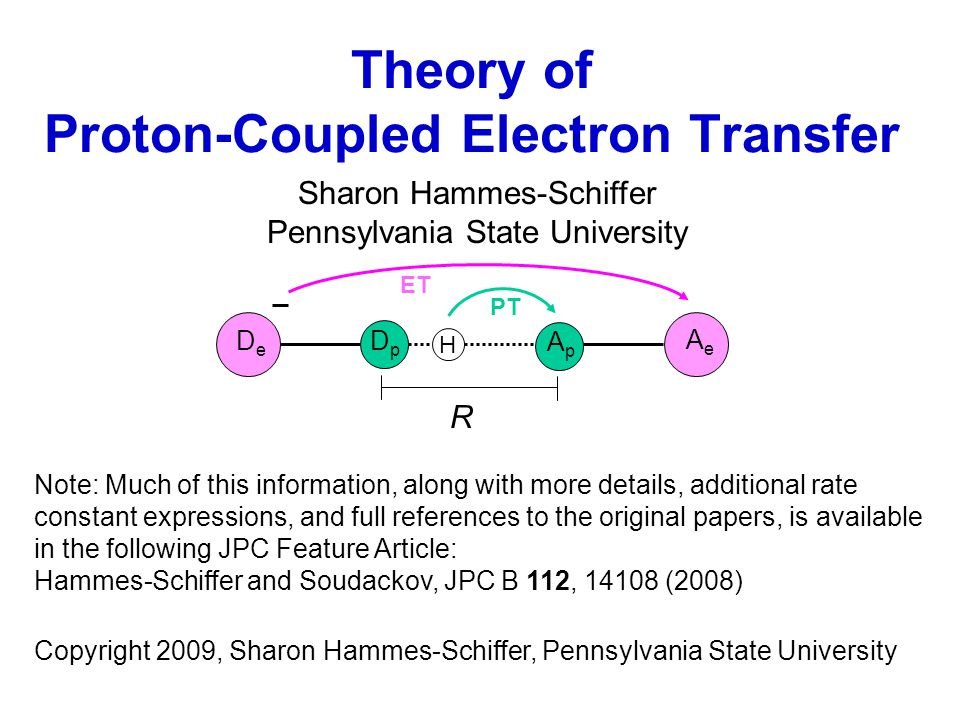Theory of Proton-Coupled Electron Transfer Sharon Hammes-Schiffer Pennsylvania State University Note: Much of this information, along with more details, additional rate constant expressions, and full references to the original papers, is available in the following JPC Feature Article: Hammes-Schiffer and Soudackov, JPC B 112, 14108 (2008) Copyright 2009, Sharon Hammes-Schiffer, Pennsylvania State University R AeAe ApAp DpDp H ET PT DeDe