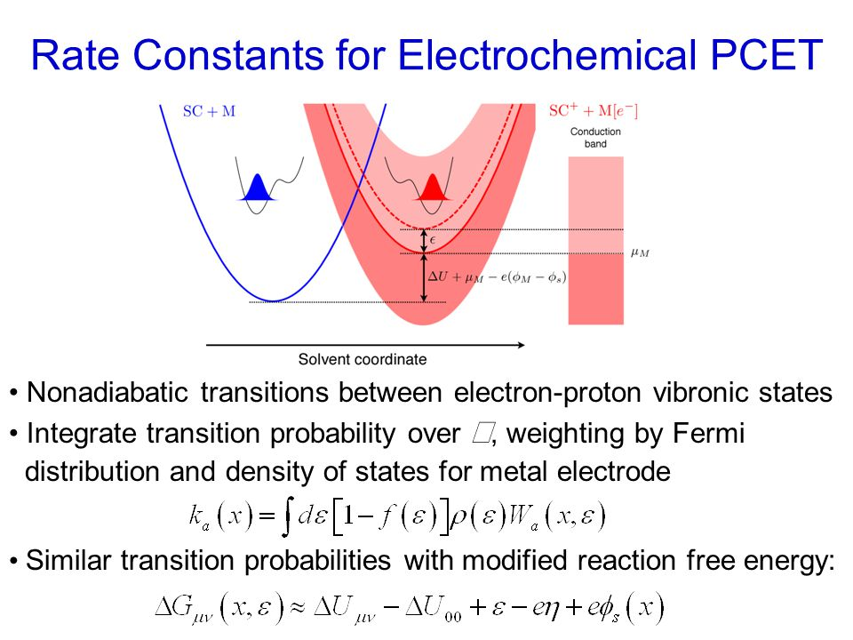 Rate Constants for Electrochemical PCET Nonadiabatic transitions between electron-proton vibronic states Integrate transition probability over , weighting by Fermi distribution and density of states for metal electrode Similar transition probabilities with modified reaction free energy: