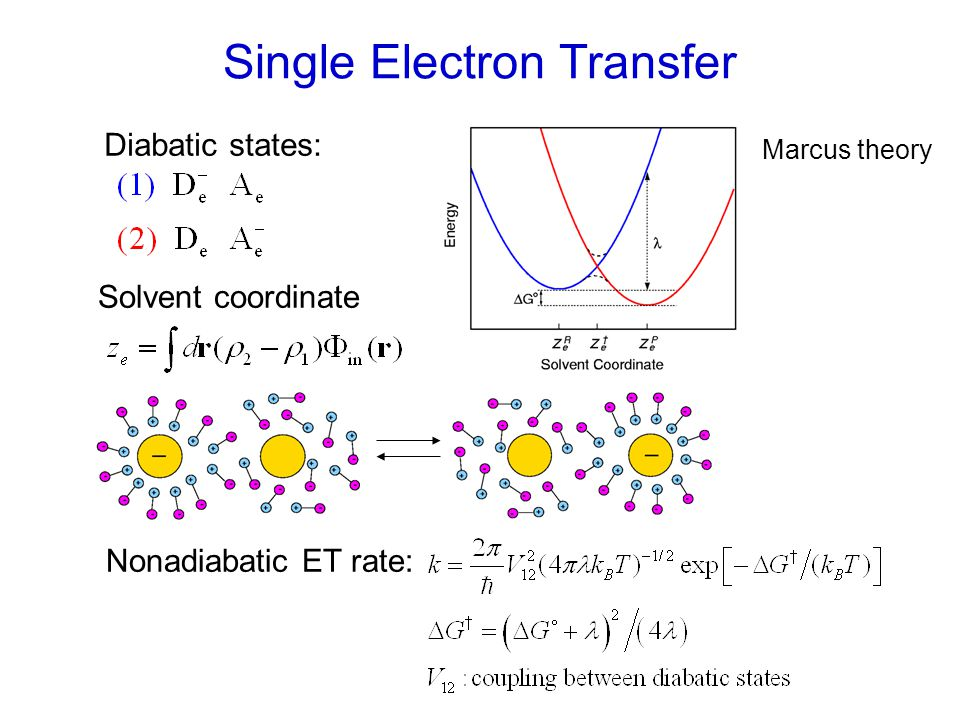 Diabatic states: Single Electron Transfer Nonadiabatic ET rate: Solvent coordinate Marcus theory