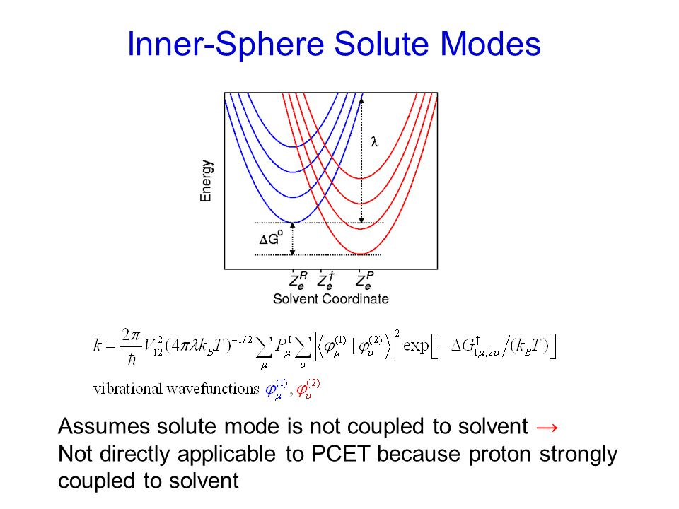 Inner-Sphere Solute Modes Assumes solute mode is not coupled to solvent → Not directly applicable to PCET because proton strongly coupled to solvent