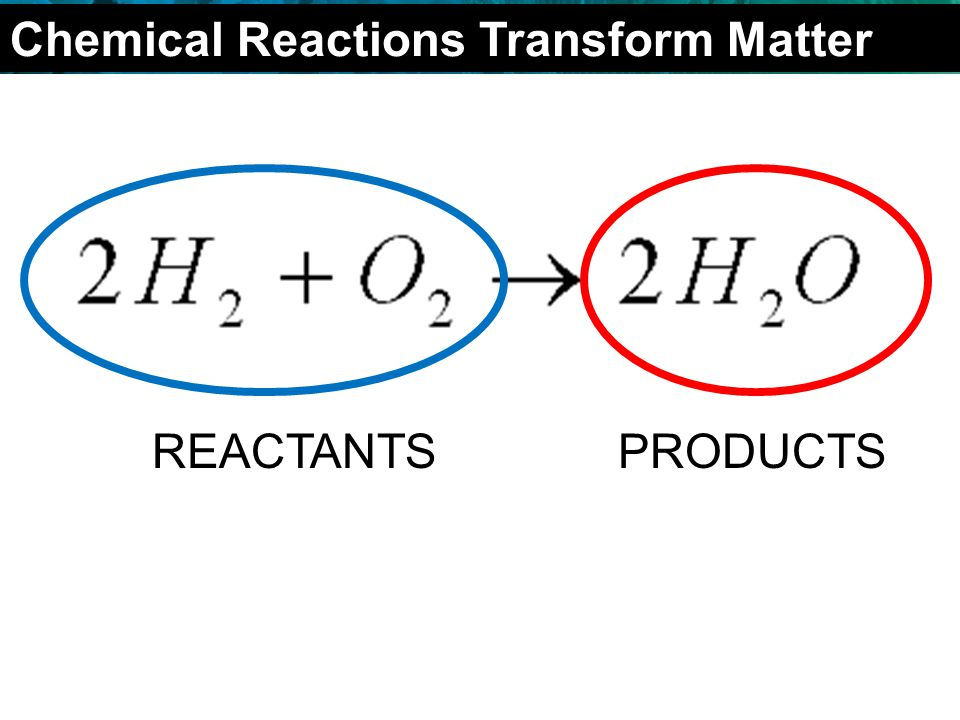 2.4 Chemical Reactions REACTANTSPRODUCTS Chemical Reactions Transform Matter