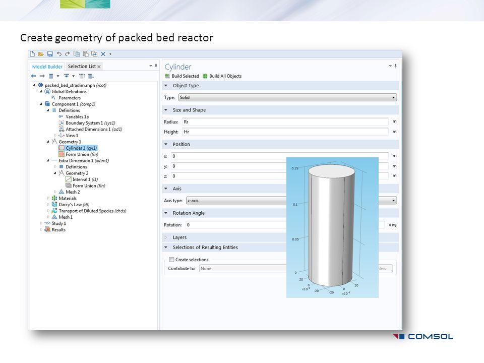 Create geometry of packed bed reactor