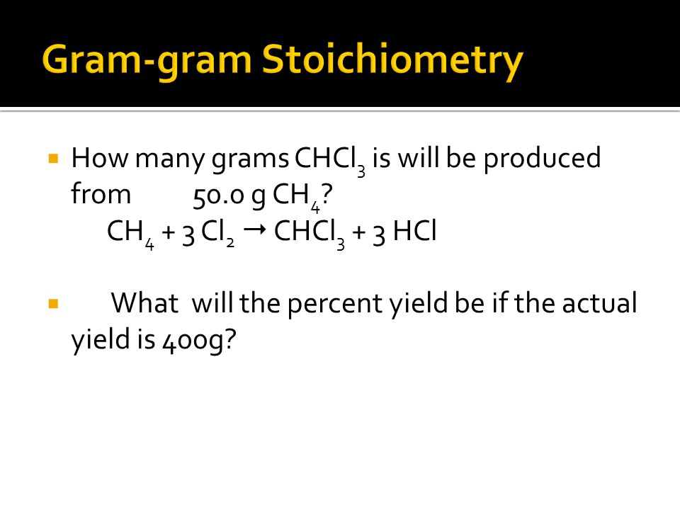  How many grams CHCl 3 is will be produced from 50.0 g CH 4 .