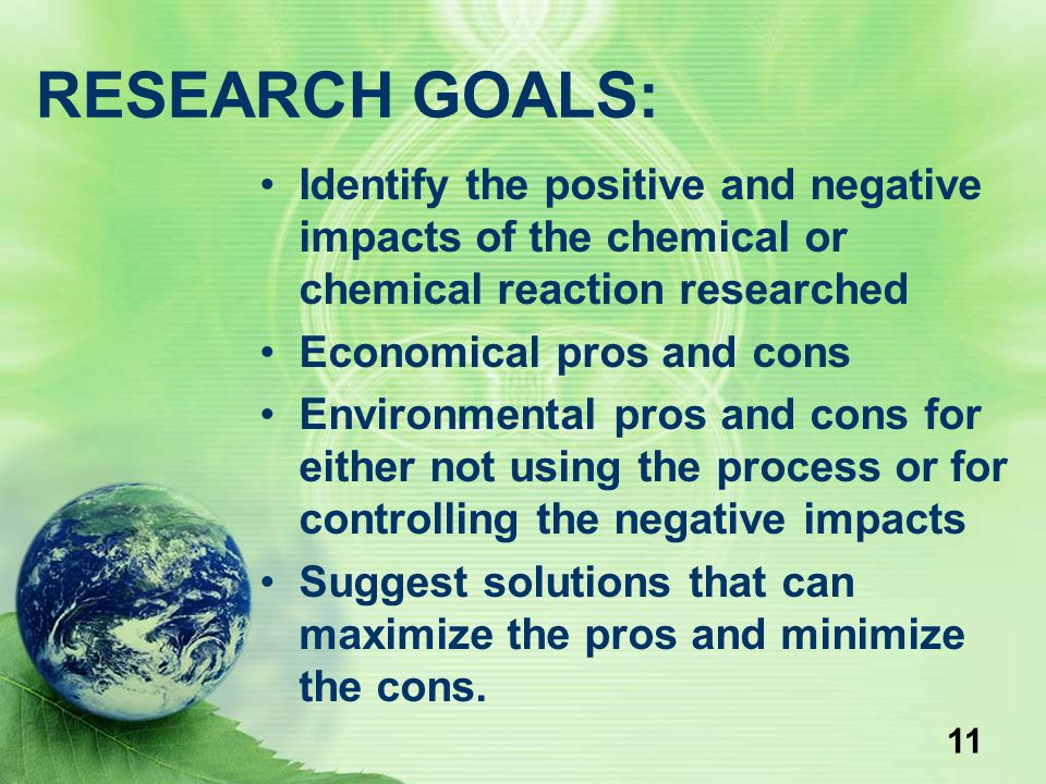 11 RESEARCH GOALS: Identify the positive and negative impacts of the chemical or chemical reaction researched Economical pros and cons Environmental p