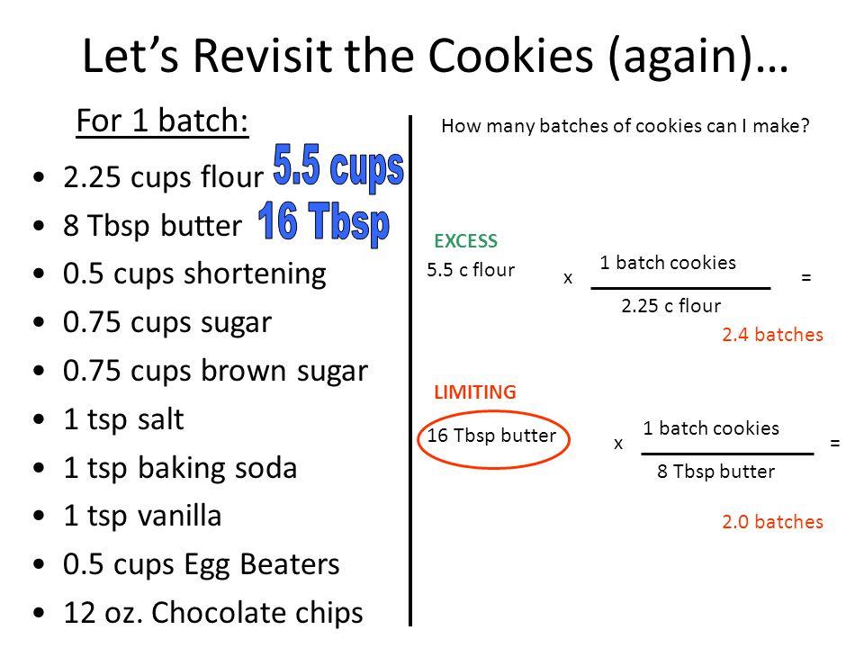2.25 cups flour 8 Tbsp butter 0.5 cups shortening 0.75 cups sugar 0.75 cups brown sugar 1 tsp salt 1 tsp baking soda 1 tsp vanilla 0.5 cups Egg Beaters 12 oz.