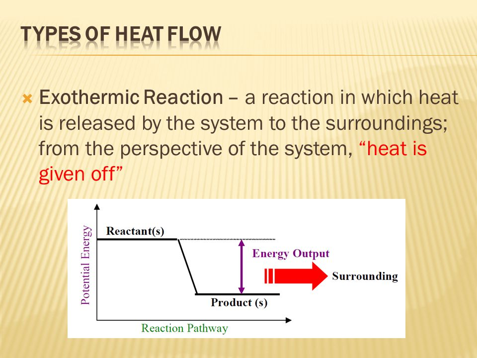 """ Exothermic Reaction – a reaction in which heat is released by the system to the surroundings; from the perspective of the system, """"heat is given off"""