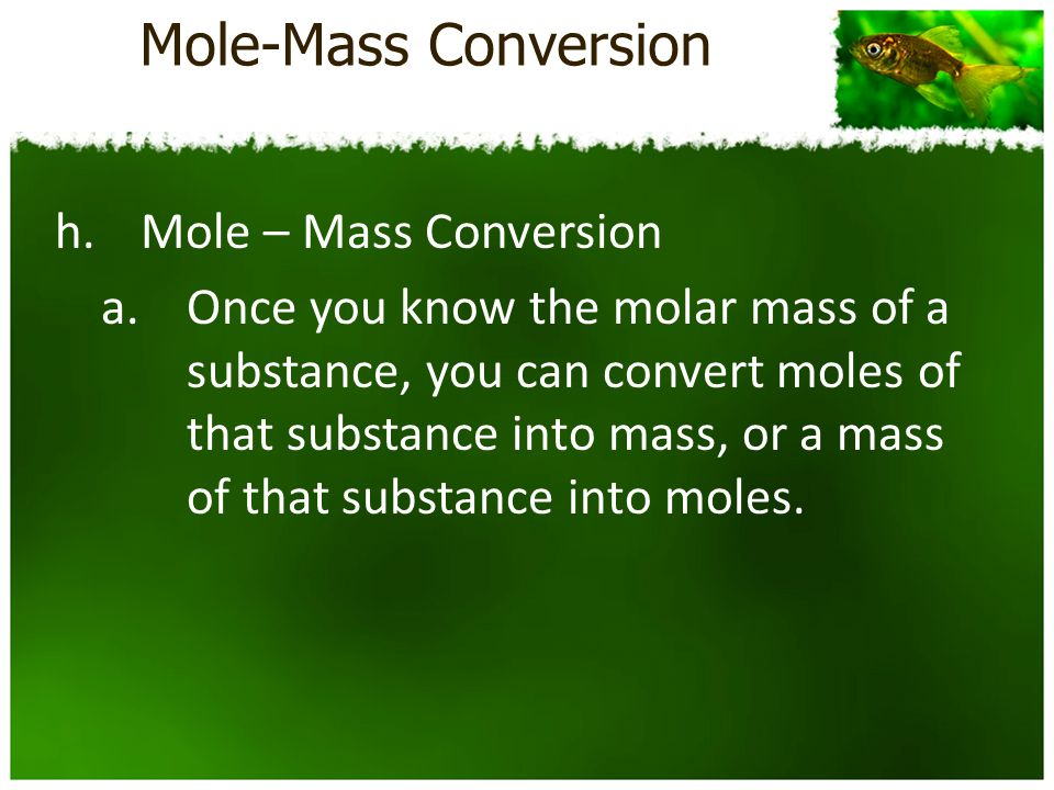 Mole-Mass Conversion h.Mole – Mass Conversion a.Once you know the molar mass of a substance, you can convert moles of that substance into mass, or a mass of that substance into moles.