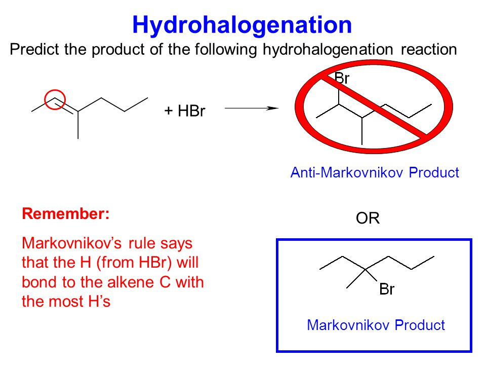 Mechanism of Hydrohalogenation Step 1: Alkene  electrons attack H +, forming a carbocation Step 2: Cl - nucleophile forms bond with carbocation or+ carbocation The carbocation formed in step 1 determines the final product