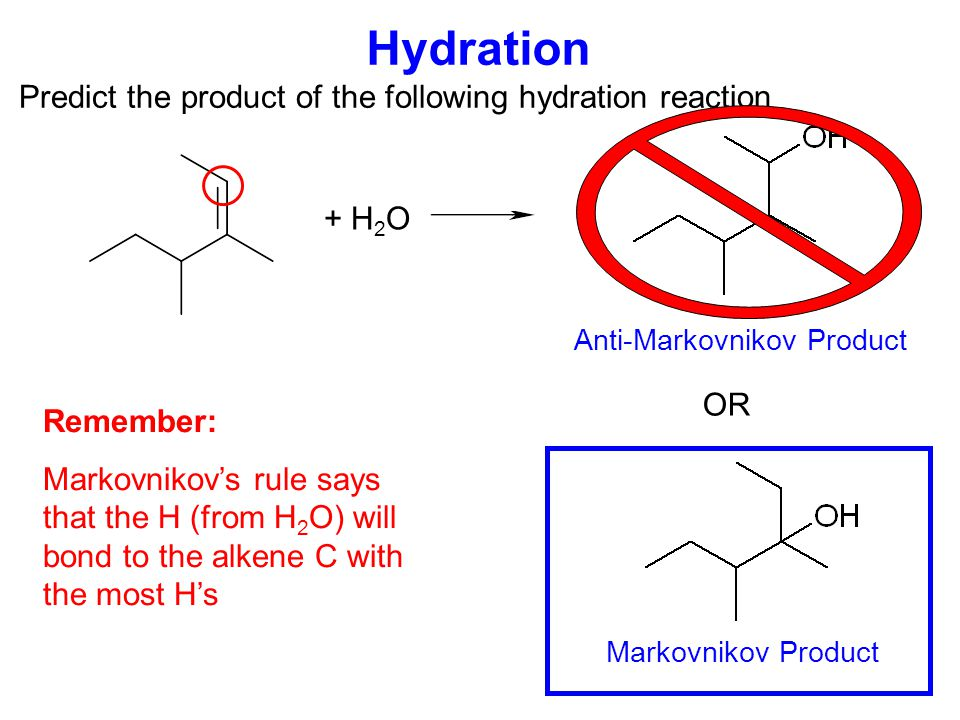 Hydrohalogenation Predict the product of the following hydrohalogenation reaction + HBr OR Markovnikov Product Anti-Markovnikov Product Remember: Markovnikov's rule says that the H (from HBr) will bond to the alkene C with the most H's