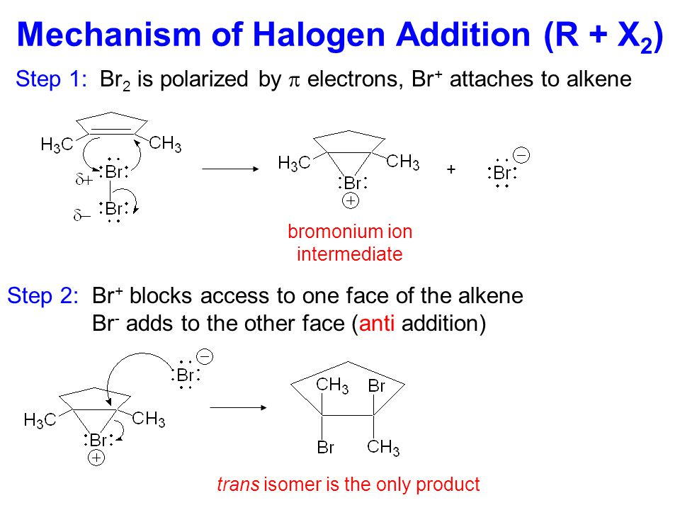 Mechanism of Hydration (R + H 2 O) Step 1:  bond attacks electrophilic H + catalyst forming carbocation Step 2: Nucleophilic H 2 O attacks carbocation, forming oxonium ion Step 3: Oxonium ion loses a proton, regenerating H + catalyst Most stable carbocation + Markovnikov product oxonium ion