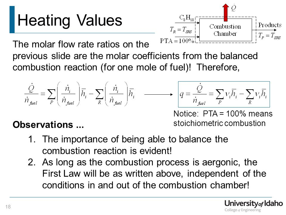 The molar flow rate ratios on the previous slide are the molar coefficients from the balanced combustion reaction (for one mole of fuel).