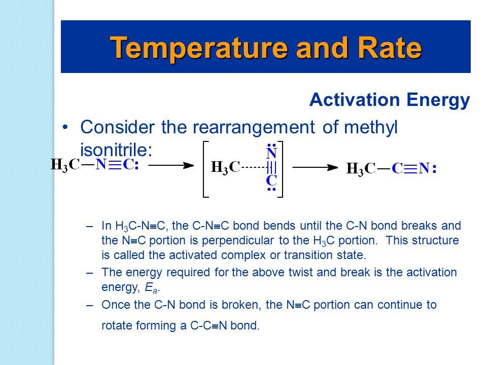 Activation Energy Consider the rearrangement of methyl isonitrile: –In H 3 C-N  C, the C-N  C bond bends until the C-N bond breaks and the N  C por