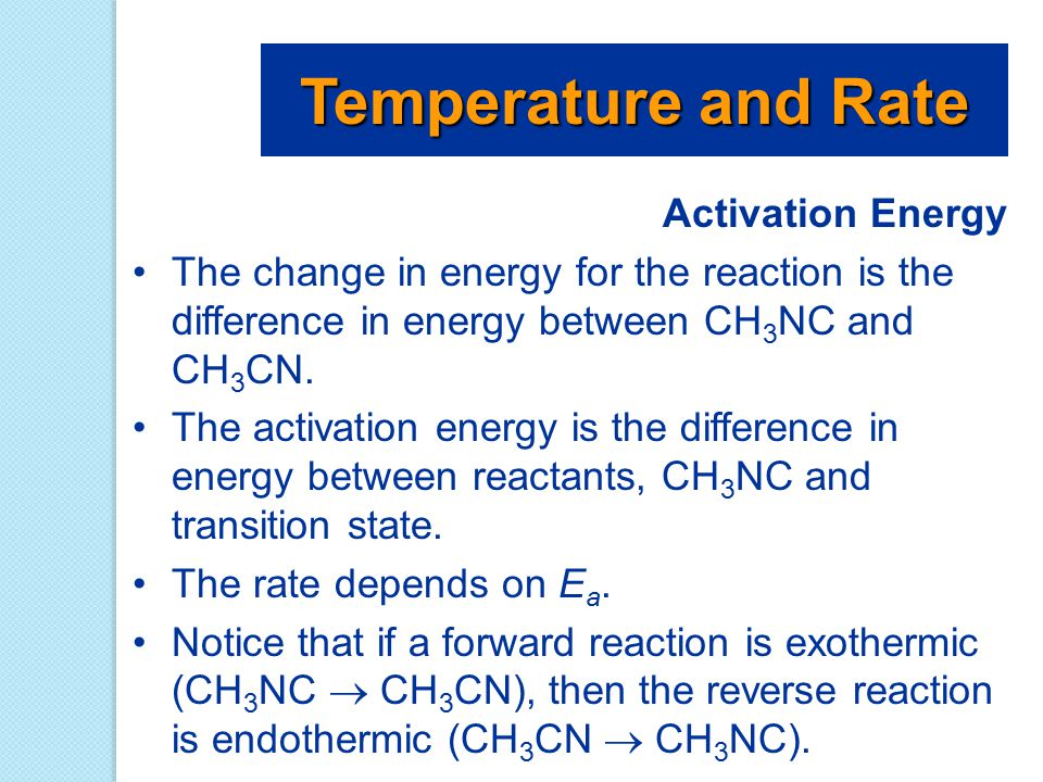 Activation Energy The change in energy for the reaction is the difference in energy between CH 3 NC and CH 3 CN. The activation energy is the differen