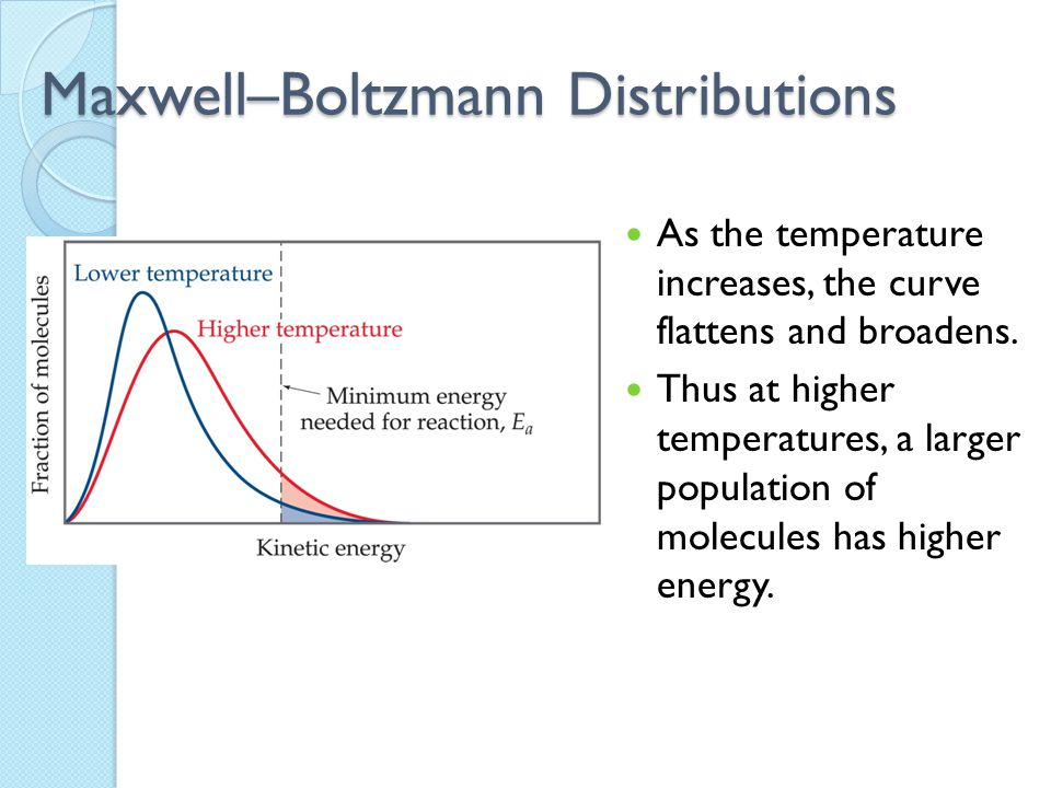 Maxwell–Boltzmann Distributions As the temperature increases, the curve flattens and broadens. Thus at higher temperatures, a larger population of mol