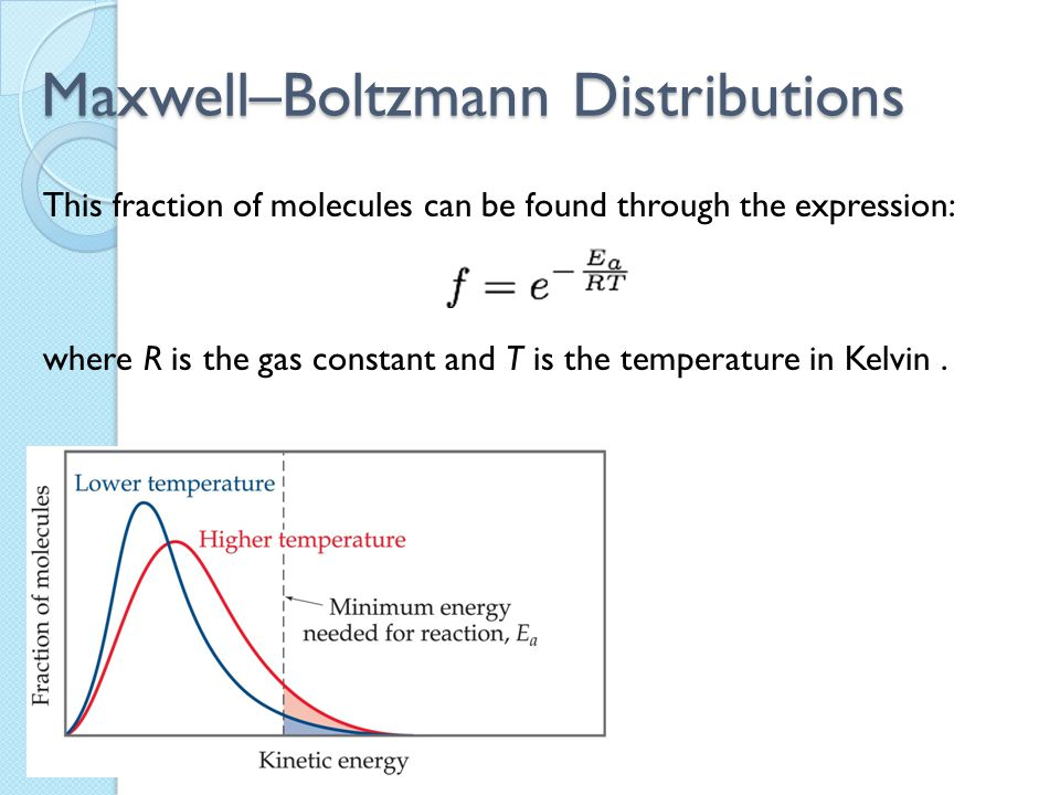 Maxwell–Boltzmann Distributions This fraction of molecules can be found through the expression: where R is the gas constant and T is the temperature i