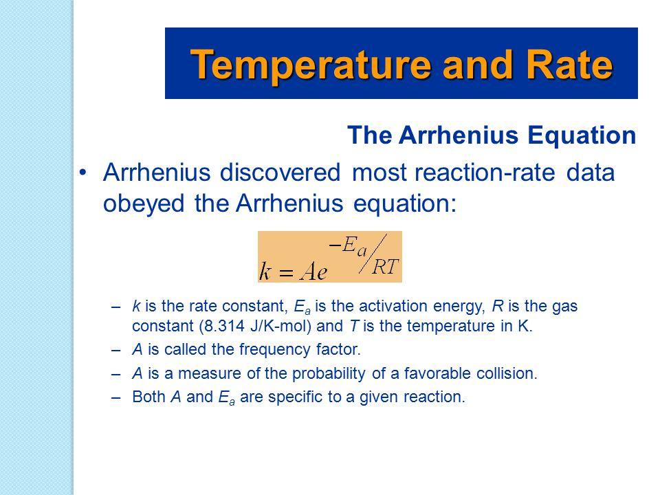The Arrhenius Equation Arrhenius discovered most reaction-rate data obeyed the Arrhenius equation: –k is the rate constant, E a is the activation ener