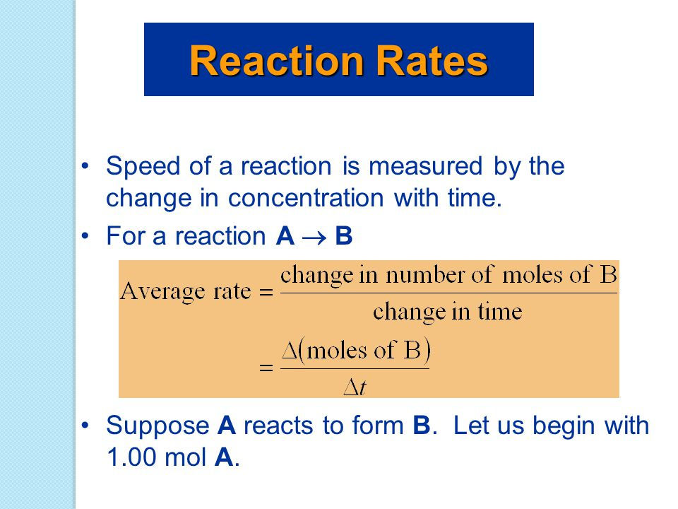 Exponents in the Rate Law For a general reaction with rate law we say the reaction is mth order in reactant 1 and nth order in reactant 2.