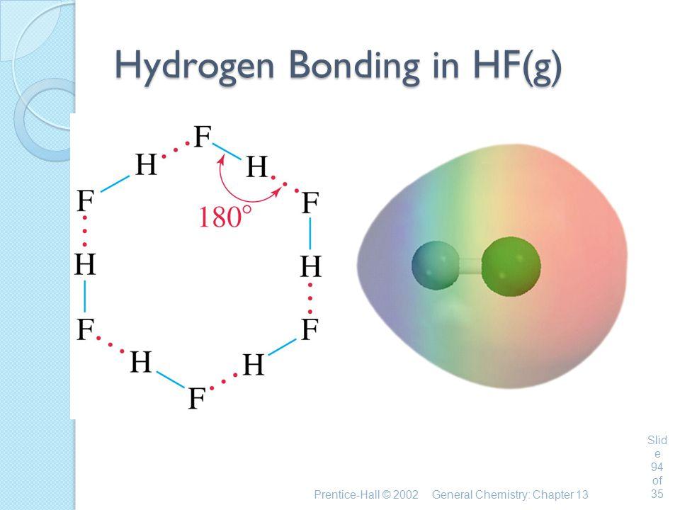 Prentice-Hall © 2002General Chemistry: Chapter 13 Slid e 94 of 35 Hydrogen Bonding in HF(g)