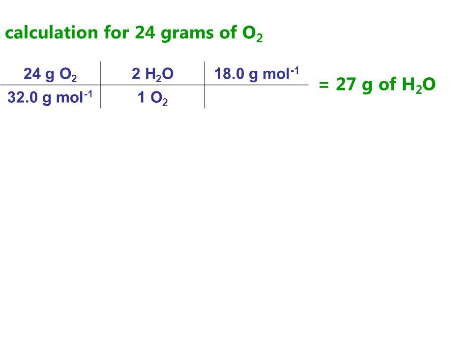 calculation for 24 grams of O 2 24 g O 2 2 H 2 O18.0 g mol -1 32.0 g mol -1 1 O 2 = 27 g of H 2 O