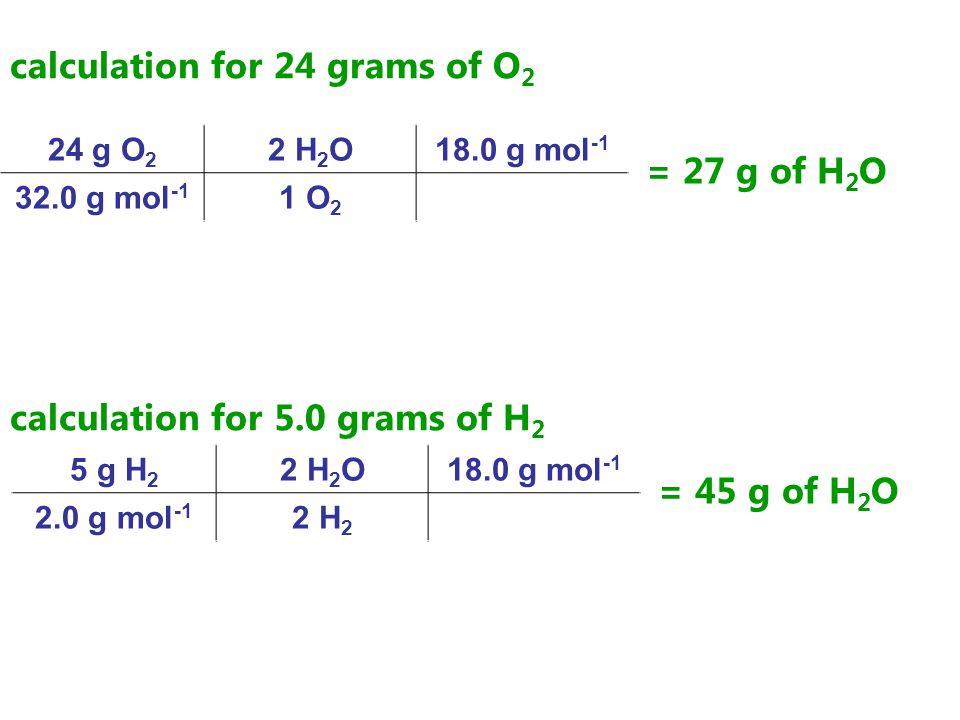 calculation for 24 grams of O 2 24 g O 2 2 H 2 O18.0 g mol -1 32.0 g mol -1 1 O 2 = 27 g of H 2 O calculation for 5.0 grams of H 2 5 g H 2 2 H 2 O18.0 g mol -1 2.0 g mol -1 2 H 2 = 45 g of H 2 O