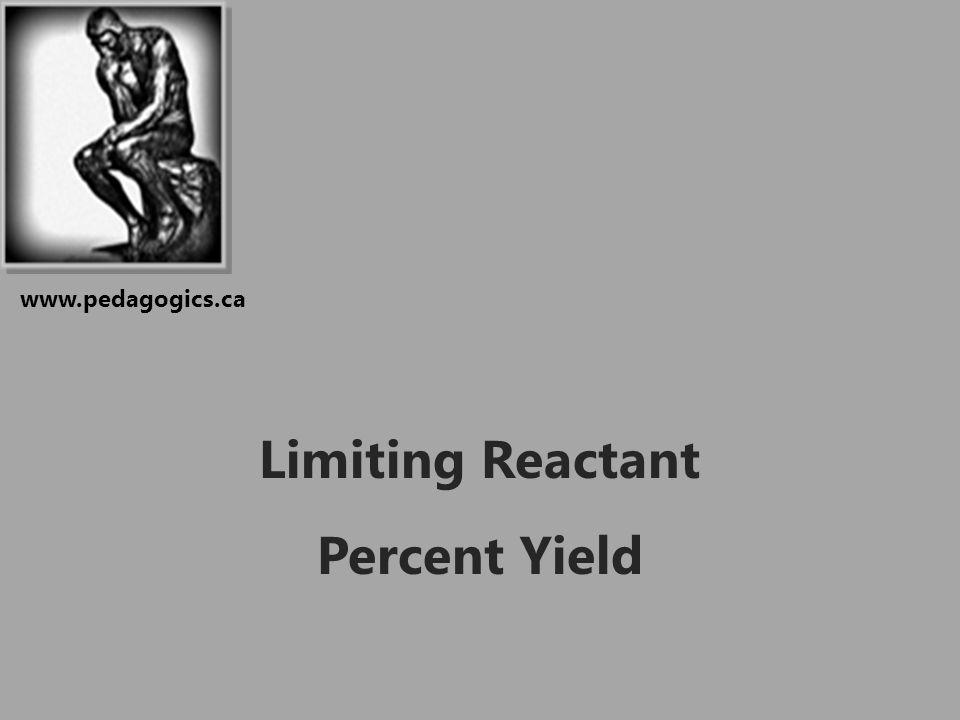 Limiting Reactant Percent Yield www.pedagogics.ca