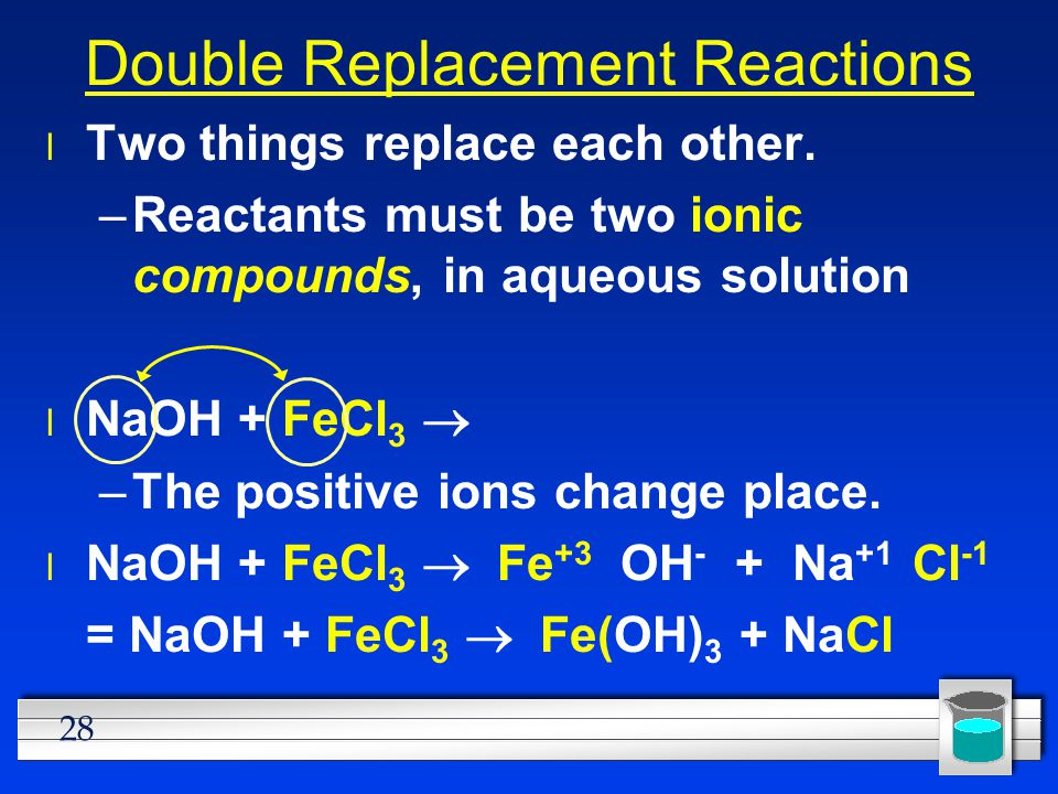 28 Double Replacement Reactions l Two things replace each other. –Reactants must be two ionic compounds, in aqueous solution NaOH + FeCl 3  –The posi