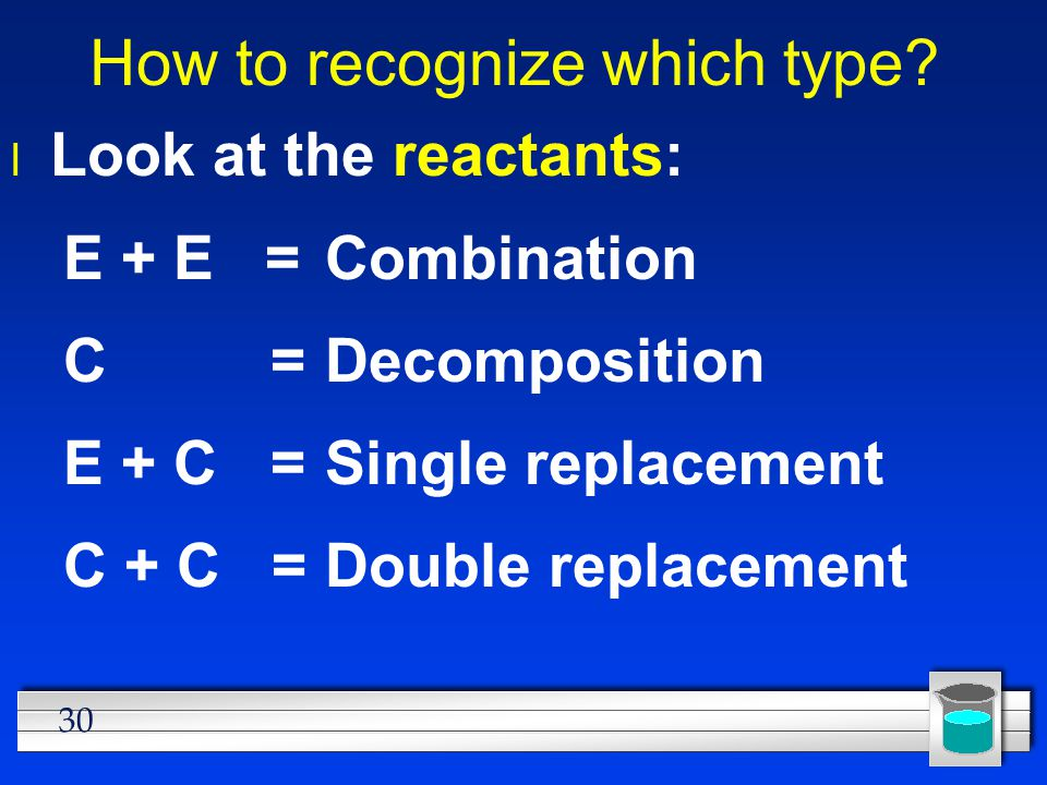 30 How to recognize which type? l Look at the reactants: E + E =Combination C =Decomposition E + C =Single replacement C + C =Double replacement