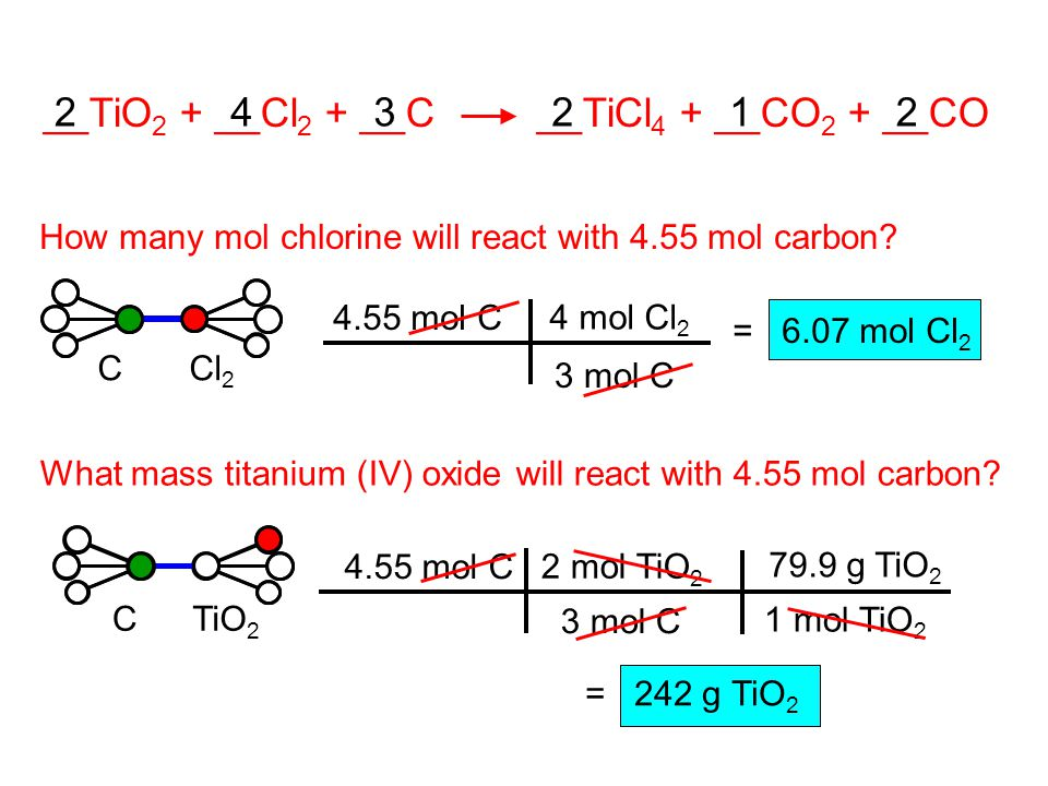 2 __TiO 2 + __Cl 2 + __C __TiCl 4 + __CO 2 + __CO How many mol chlorine will react with 4.55 mol carbon.