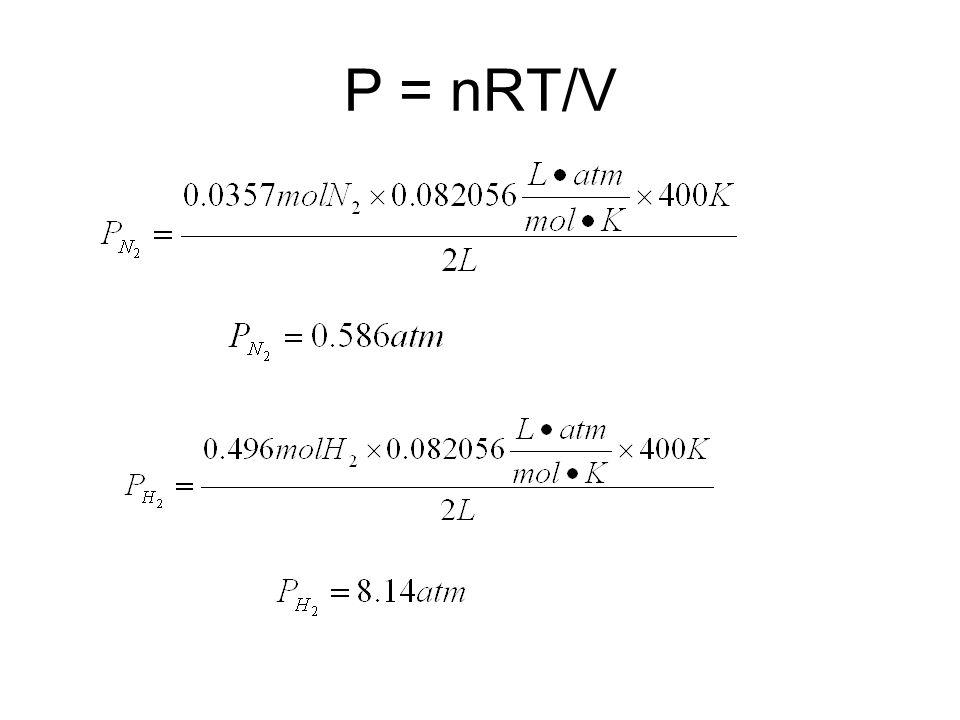 P = nRT/V