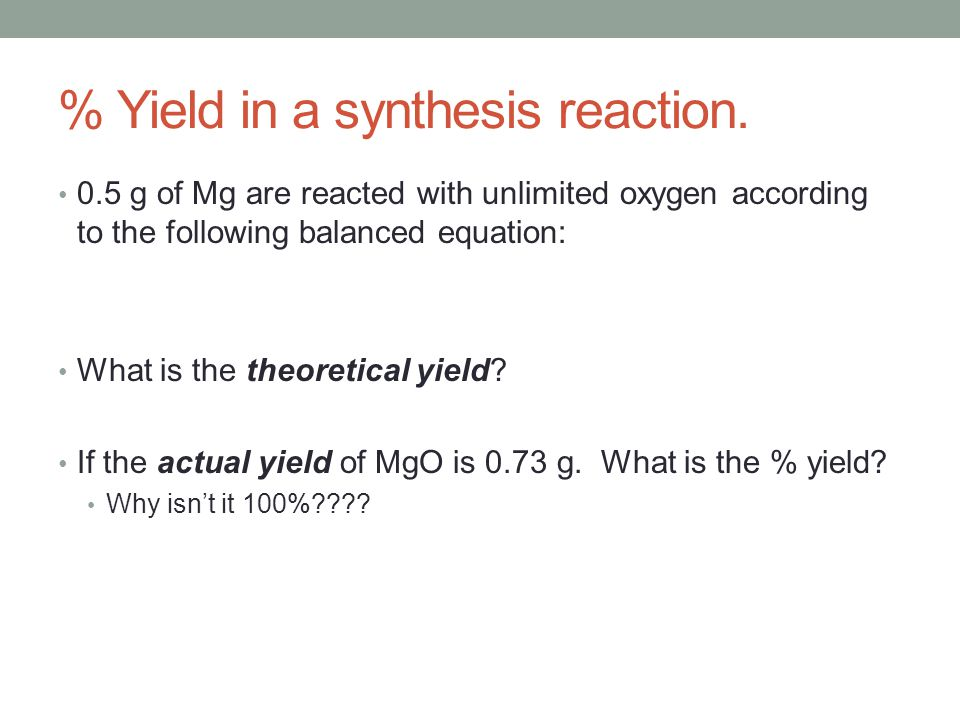 % Yield in a synthesis reaction.