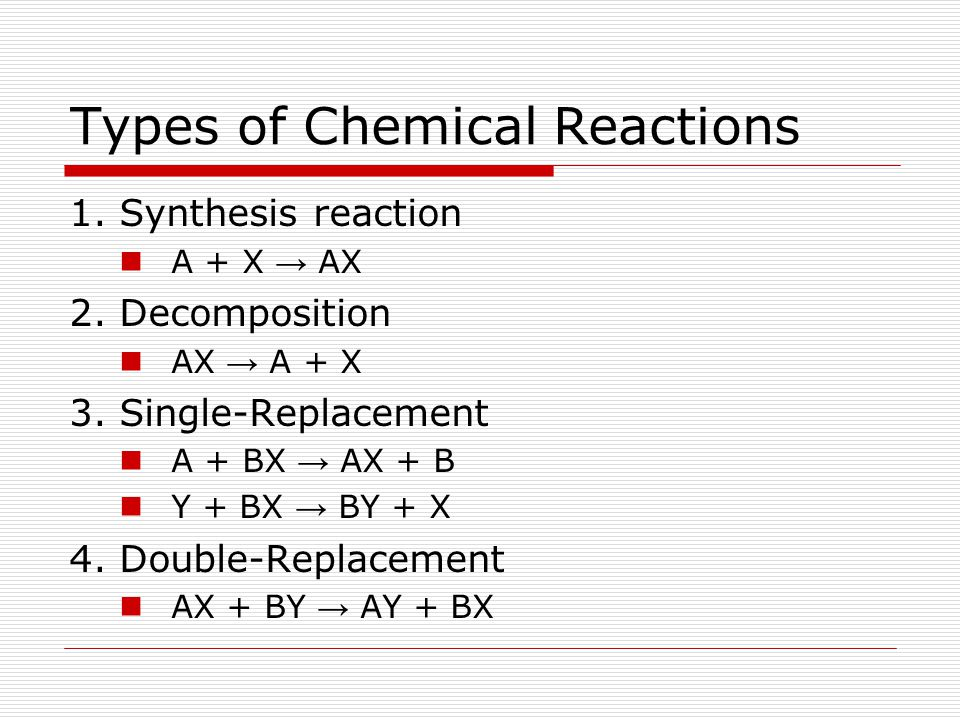 Types of Chemical Reactions 1. Synthesis reaction A + X → AX 2. Decomposition AX → A + X 3. Single-Replacement A + BX → AX + B Y + BX → BY + X 4. Doub