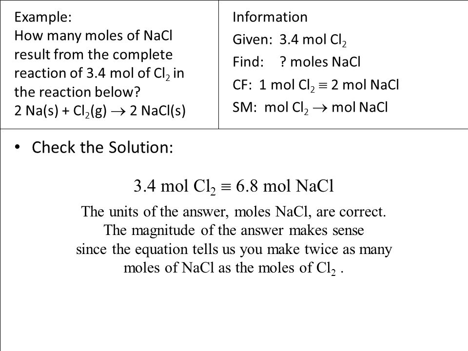 4 Mass-to-Mass Conversions we know there is a relationship between the mass and number of moles of a chemical 1 mole = Molar Mass in grams the molar mass of the chemicals in the reaction and the balanced chemical equation allow us to convert from the amount of any chemical in the reaction to the amount of any other