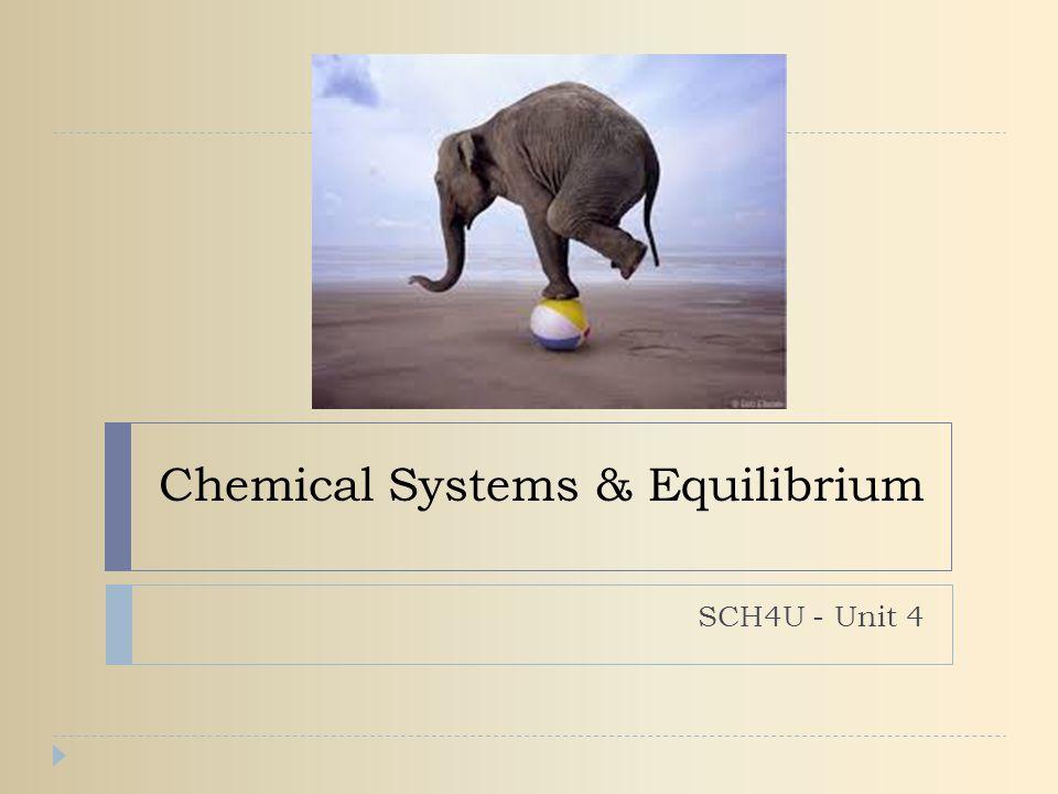 Chemical Systems & Equilibrium SCH4U - Unit 4
