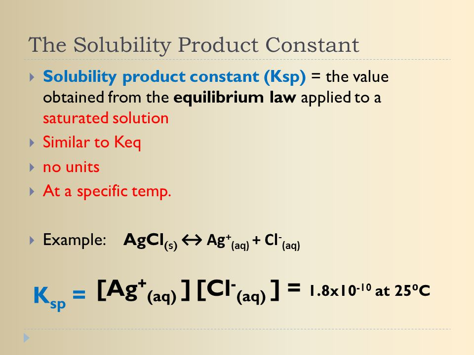 The Solubility Product Constant  Solubility product constant (Ksp) = the value obtained from the equilibrium law applied to a saturated solution  Si