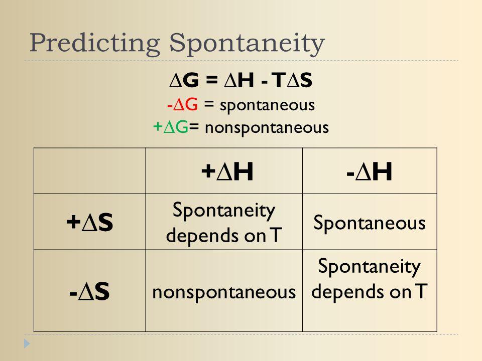 Predicting Spontaneity +∆H-∆H +∆S Spontaneity depends on T Spontaneous -∆S nonspontaneous Spontaneity depends on T ∆G = ∆H - T∆S -∆G = spontaneous +∆G