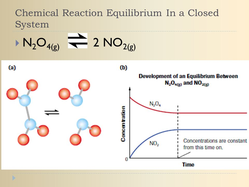 Chemical Reaction Equilibrium In a Closed System  N 2 O 4(g) 2 NO 2(g)