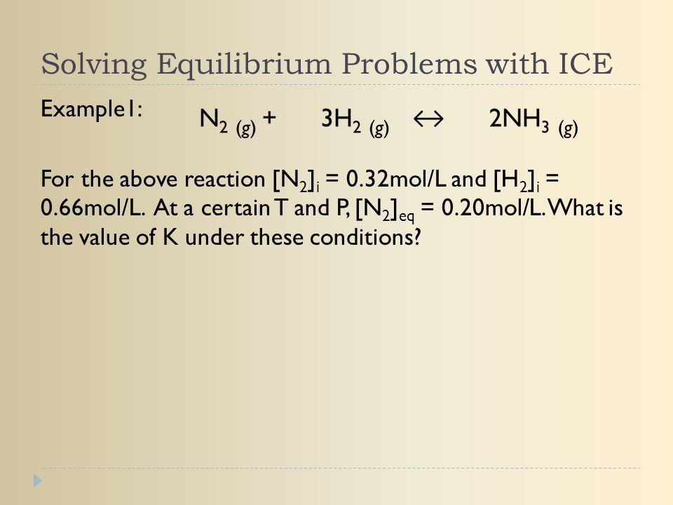 Solving Equilibrium Problems with ICE Example1: For the above reaction [N 2 ] i = 0.32mol/L and [H 2 ] i = 0.66mol/L. At a certain T and P, [N 2 ] eq