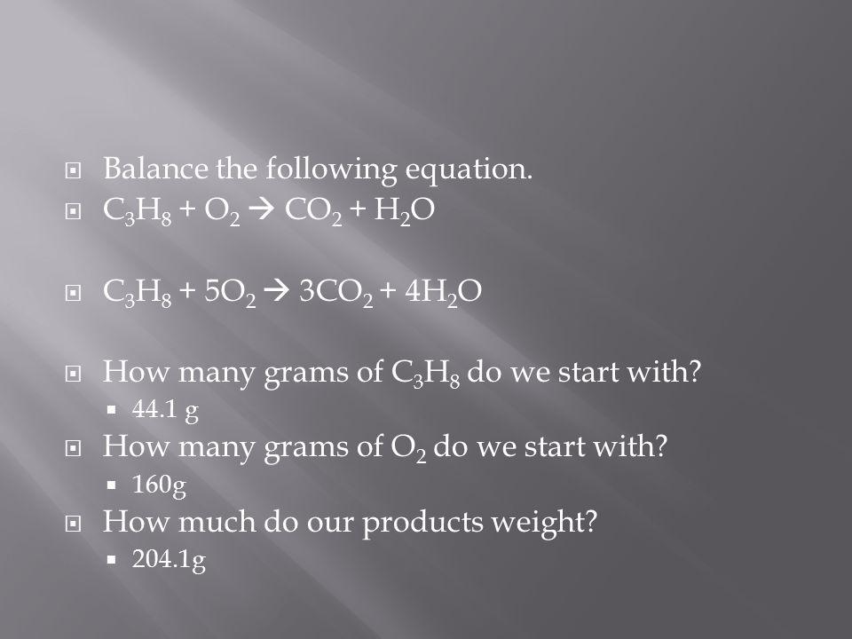  Balance the following equation.