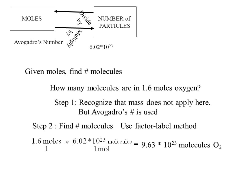 MOLES NUMBER of PARTICLES 6.02*10 23 Multiply by Divide by Avogadro's Number Given moles, find # molecules How many molecules are in 1.6 moles oxygen.