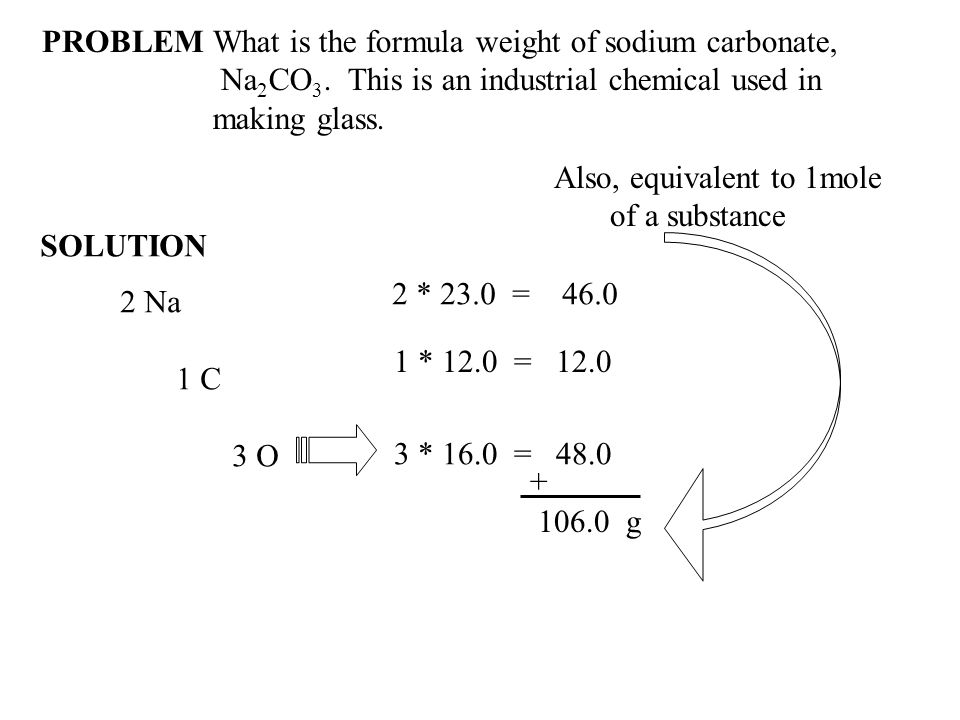 PROBLEMWhat is the formula weight of sodium carbonate, Na 2 CO 3.