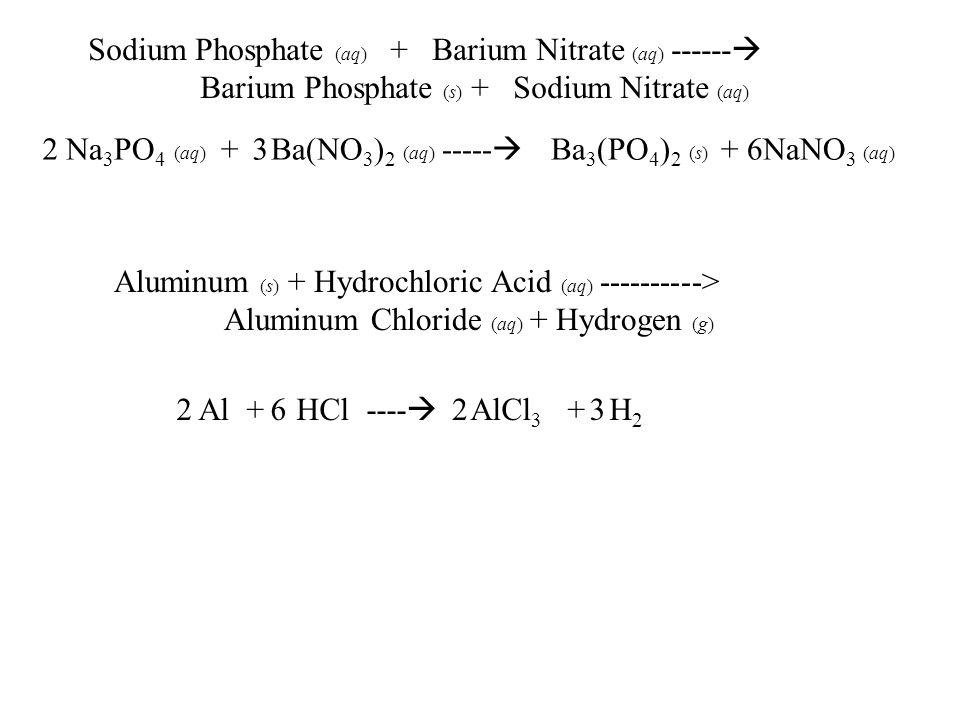 Sodium Phosphate (aq) + Barium Nitrate (aq) ------  Barium Phosphate (s) + Sodium Nitrate (aq) Na 3 PO 4 (aq) + Ba(NO 3 ) 2 (aq) -----  Ba 3 (PO 4 )