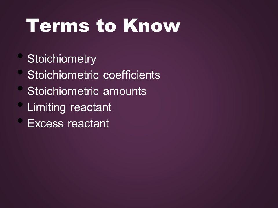 Terms to Know Stoichiometry Stoichiometric coefficients Stoichiometric amounts Limiting reactant Excess reactant