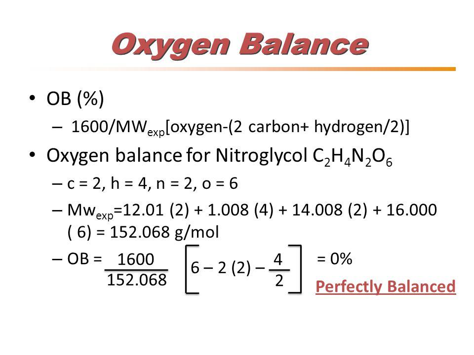 Oxygen Balance OB (%) – 1600/MW exp [oxygen-(2 carbon+ hydrogen/2)] Oxygen balance for Nitroglycol C 2 H 4 N 2 O 6 – c = 2, h = 4, n = 2, o = 6 – Mw e