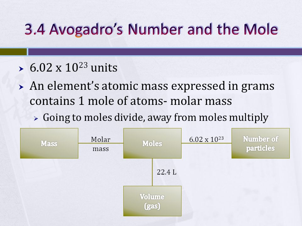 6.02 x 10 23 units  An element's atomic mass expressed in grams contains 1 mole of atoms- molar mass  Going to moles divide, away from moles multiply Molar mass 6.02 x 10 23 22.4 L
