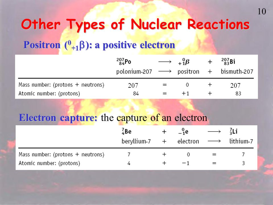 9 Nuclear Reactions Beta emissionBeta emission Note that mass number (A) is unchanged and atomic number (Z) goes up by 1.