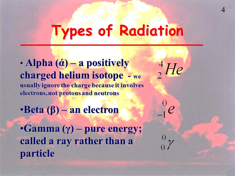 4 Types of Radiation Alpha (ά) – a positively charged helium isotope - we usually ignore the charge because it involves electrons, not protons and neutrons Alpha (ά) – a positively charged helium isotope - we usually ignore the charge because it involves electrons, not protons and neutrons Beta (β) – an electronBeta (β) – an electron Gamma (γ) – pure energy; called a ray rather than a particleGamma (γ) – pure energy; called a ray rather than a particle