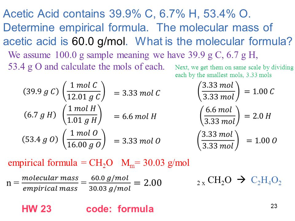 Acetic Acid contains 39.9% C, 6.7% H, 53.4% O. Determine empirical formula. The molecular mass of acetic acid is 60.0 g/mol. What is the molecular for