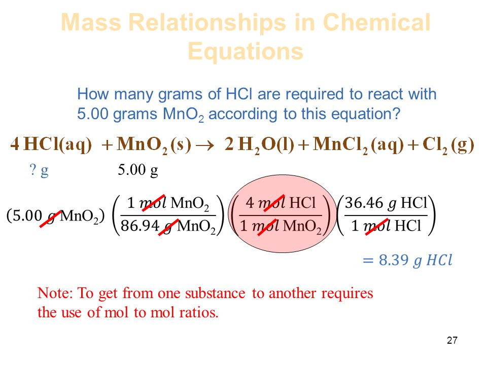 Mass Relationships in Chemical Equations How many grams of HCl are required to react with 5.00 grams MnO 2 according to this equation? 27 ? g 5.00 g N